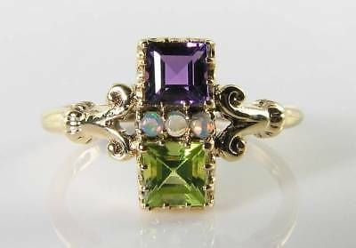 SUFFRAGETTE 9K 9CT GOLD AMETHYST PERIDOT OPAL ART DECO INS RING FREE RESIZE ()