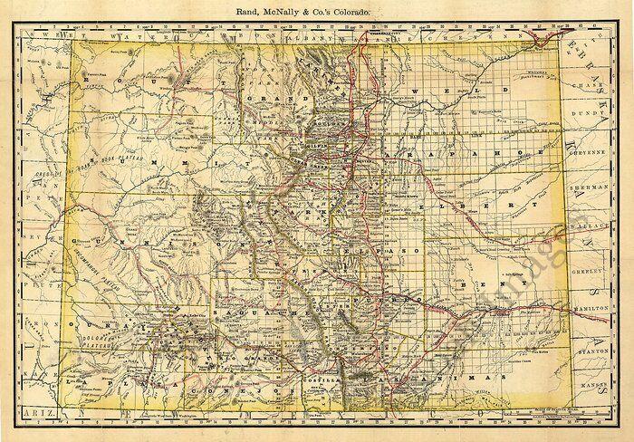 Railroad map of Colorado c1879 24x16