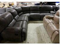 Grey suede corner sofa recliner