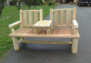 rustic log outdoor furniture