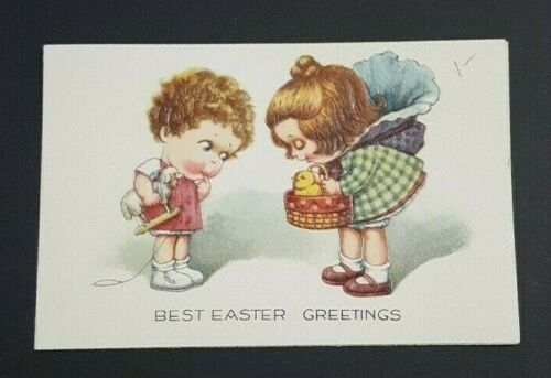 Best Easter Greetings Two Little Girls Look at Chick in Basket Little Note Card