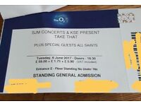 4 x TAKE THAT TICKETS - STANDING - TUES 6 JUNE - 02 ARENA - £240