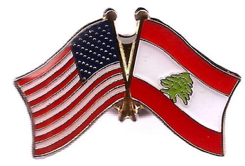 LOT OF 12 Lebanon Friendship Flag Lapel Pins - Lebanon Crossed Flag Pin