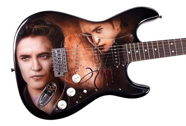 Robert Pattinson Autographed Hot Twilight Airbrush Guitar Proof AFTAL