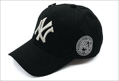 Black New York 6 panel Curved Peak Embossed logo NY Yankee Style baseball cap
