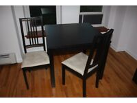 IKEA BJURSTA BLACK EXTENDABLE DINING TABLE & 2 IKEA BORJE CHAIRS GREAT CONDITION CAN DELIVER
