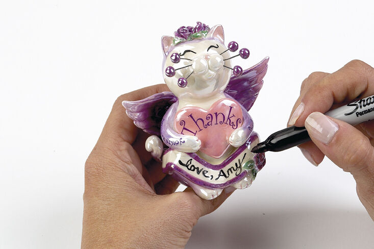 """WhimsiClay Gratitude"""", Angel heart cat signed by Amy! free pin too $$8.00 retail"""