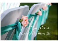 HIGH QUALITY - 84 PCS Tiffany Colour Chair Sashes with Rose Style Wedding Party Banquet Reception