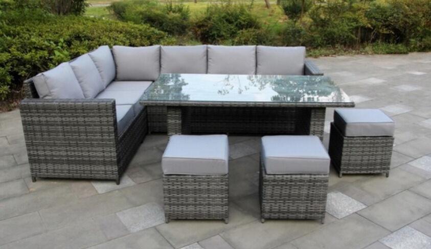 Wonderful Rattan Garden Bench Part - 7: NEW 9 Seater Rattan Garden Furniture Conservatory Corner Sofa Set With  Dining Table