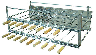 BRAZILIAN BBQ CHARCOAL GRILL ROTISSERIE - 15 SKEWERS - PROFESSIONAL GRADE