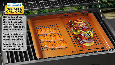 Kitchenrite Non-Stick Griddle Grill Pan Adjustable Pizza Fish Meat Vegetable New