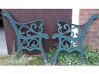 Pair Of Cast Iron Garden Bench Ends With Stylised Fleur-De-Lis Design