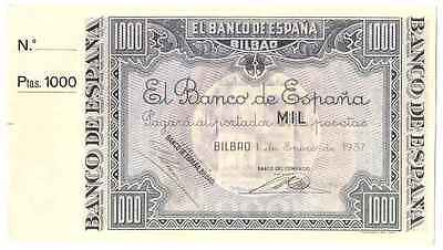 Spain Civil War Banco De Espana Bilbao 1000 Pesetas 1937 Unc Scarce