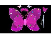 fuschia pink 3 piece butterfly set dress up fancy dress x 10