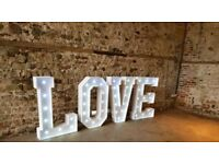 Giant LOVE letters **HIRE**