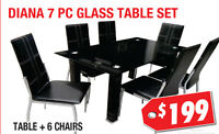 Diana 7pc Glass Dining Table Set, $199