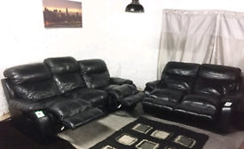 | Black Real leather recliners 3+2 seater sofas
