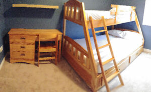 For Sale-Solid wood Bunk bed  with desk & chair