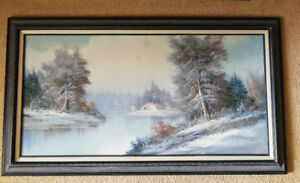 Larged framed signed oil painting