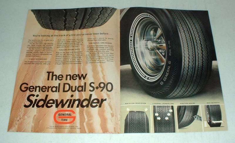 1968 General Dual S-90 Sidewinder Tire Ad!