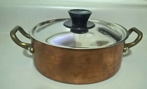 Vintage Small Copper Pot Pan with Lid Made in Montreal Canada