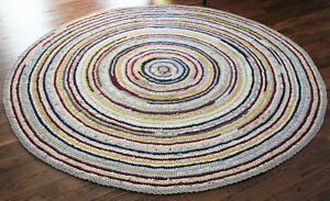 ROUND RAG RUG, AREA RUG, 6 FEET, HAND CROCHETED