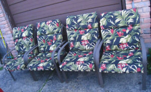Slightly used 4 Zinc coated(anti-rust) Patio Chairs with cushion