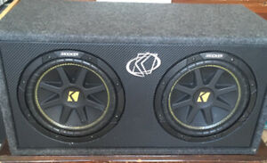 Two 10 inch Kicker Subwoofers in a box for $400