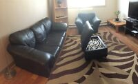 Leather couch ,arm chair ,ottoman with book shelf