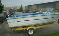 16.5 ft aluminum boat, motor, and trailer