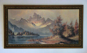 53 x 29 Framed Painting, Set of 3 Hap Wilson Drawings,  2 Plaque