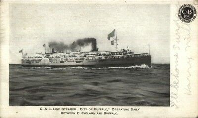 C&B Line Steamer Ship City of Buffalo w/ Company Logo 1909 Used Postcard](Party City Buffalo)