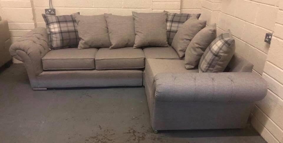 Chesterfield Style Fabric Corner Sofa In Pontardawe Swansea Gumtree