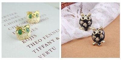 Q-Teen Cute Animal Gold Color Chubby Owl Bird Green Eyes Studs Earrings Charm - Cute Chubby Teen