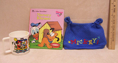 Lot 3 Mickey Mouse Items Baby Hat w/ Ears Plastic Cup & Cardboard Book Nursery