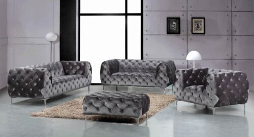 Modern Top Quality Gray Velvet 2pc Sofa Set Sofa Loveseat Living Room Furniture