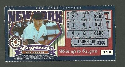 1997 New York Lottery Used Scratch Off Ticket Legends Don Larsen Yankees