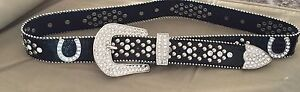 rinestone belt never worn black with rinestone horse shoes
