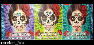 Day of the Dead, Dia de los Muertos 3 FACE TATTOOS Sugar Skull Halloween Costume