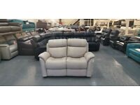 Ex-display Relax Station Revive grey leather manual recliner 2 seater sofa
