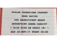 Greg Davies *2 Excellent Seats at Cardiff Arena