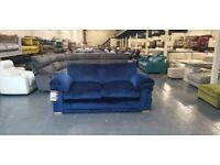 Ex-display Ashmore blue velvet fabric 3 seater sofa