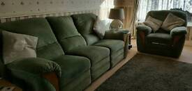 Three seater settee and chair