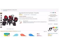 Nearly new baby travel system (Hauck Apollo All-in-One Travel System) - Tomato Red