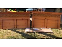 Matching pair of solid pine single headboards