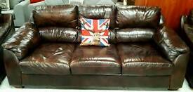 Lovely Italian leather 3 piece suite in vgc can deliver 07808222995