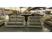 Ex-display Harveys grey leather and suede fabric manual recliner 3+2 seater sofa