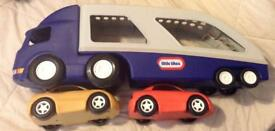 £5 LITTLE TIKES CAR TRANSPORTER AND TOYS R US MOTORBIKE **pick up only**