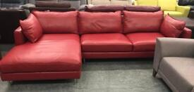 DFS Mazzini red leather chaise sofa
