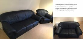 LEATHER 3 PIECE SUITE, dining table, chairs, office desk, cabinets, wardrobe, drawers & bed.